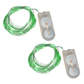 Green Battery Operated Waterproof Mini String Lights (Set of 2)