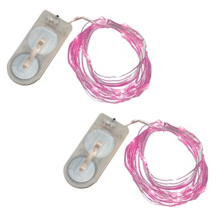 Pink Battery Operated Waterproof Mini String Lights (Set of 2)