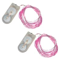 Battery Operated Waterproof Pink Mini String Lights (Set of 2)