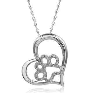 Sterling Silver 1/6ct TDW Diamond Paw Heart Pendant (I-J, I2-I3)