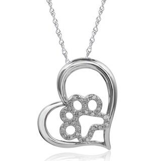 Sterling Silver 1/6ct TDW Diamond Paw Heart Pendant