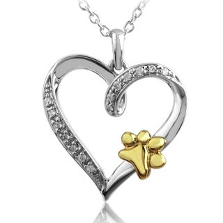 Sterling Silver Diamond Accent Paw Print Heart Pendant (I-J, I2-I3)