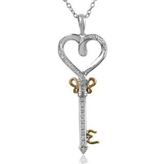 Sterling Silver 1/10ct TDW Diamond Heart Key Pendant