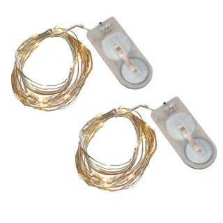 Warm White Battery Operated Waterproof Mini String Lights (Set of 2)