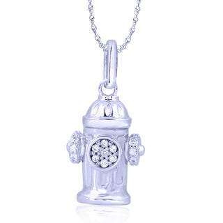 Sterling Silver 1/10ct TDW Diamond Fire Hydrant Pendant (I-J, I2-I3)