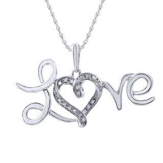 Sterling Silver Diamond Accent 'Love' Pendant (I-J, I2-I3)