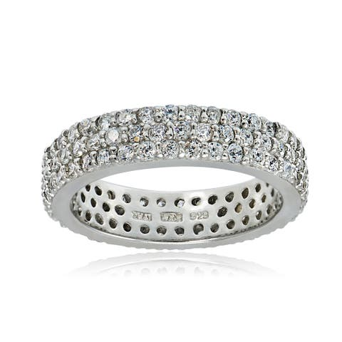 Icz Stonez Sterling Silver Cubic Zirconia Band Ring