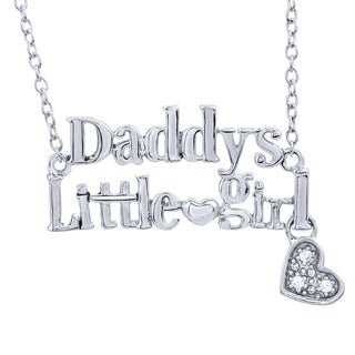 Sterling Silver Diamond Accent 'Daddy's Little Girl' Necklace (I-J, I2-I3)