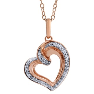 10k Two-tone Gold 1/10ct TDW Diamond Heart Halo Pendant (I-J, I2-I3)