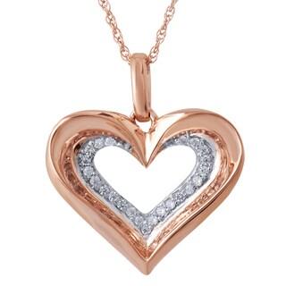 10k Rose Gold over Silver Diamond Accent Heart Pendant