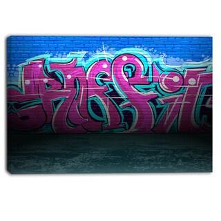 Designart - Purple Graffiti Wall - Street Art Canvas Art Print