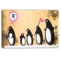 Designart - Penguin on the Wall - Street Art Canvas Print