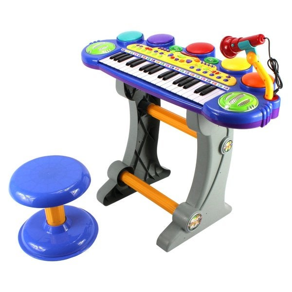 Fun Party Voice Synthesizer Children's Musical Toy Blue Keyboard Play Set