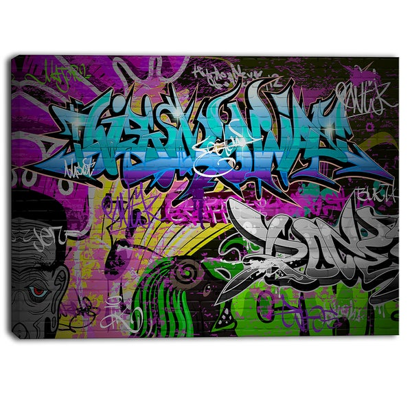 Designart - Graffiti Wall Urban Art - Abstract Street Art Canvas Print