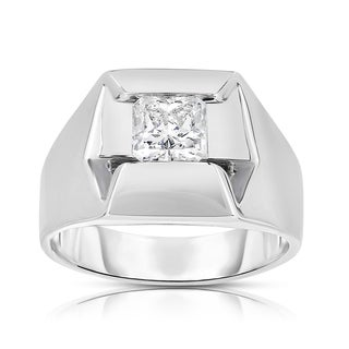 Eloquence 14k White Gold 1 1/3ct TDW Diamond Mens Wedding Ring (K-L, SI1-SI2)