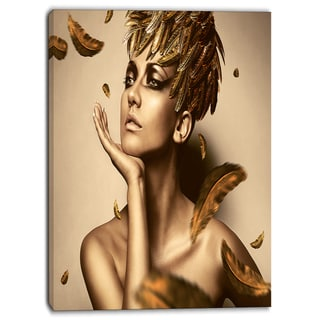 Designart - Sexy Woman in Gold Hat - Sensual Contemporary Canvas Art Print