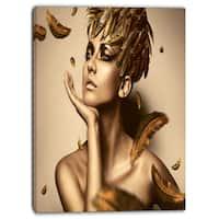 Designart - Sexy Woman in Gold Hat - Sensual Contemporary Canvas Art Print