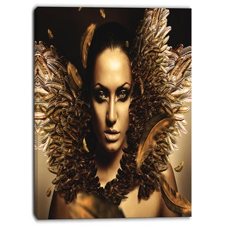 Designart - Sexy Brunette - Digital Art Portrait Canvas Print