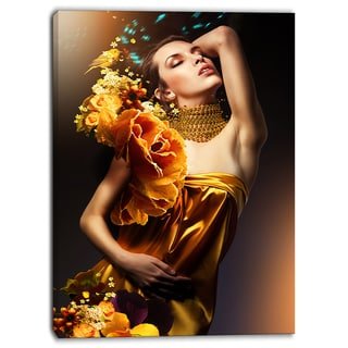 Designart - Woman in Yellow Dress - Digital Art Portrait Canvas Print