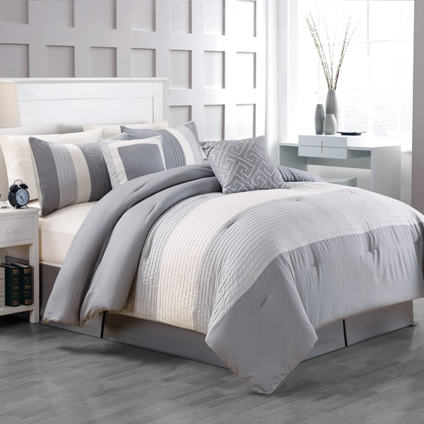 Fall River Luxury Grey 5-Piece Comforter Set