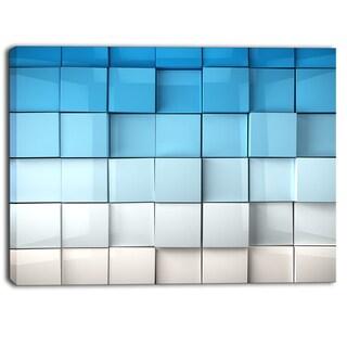 Designart - Blue and White Mosaic Cubes - Contemporary Artwork