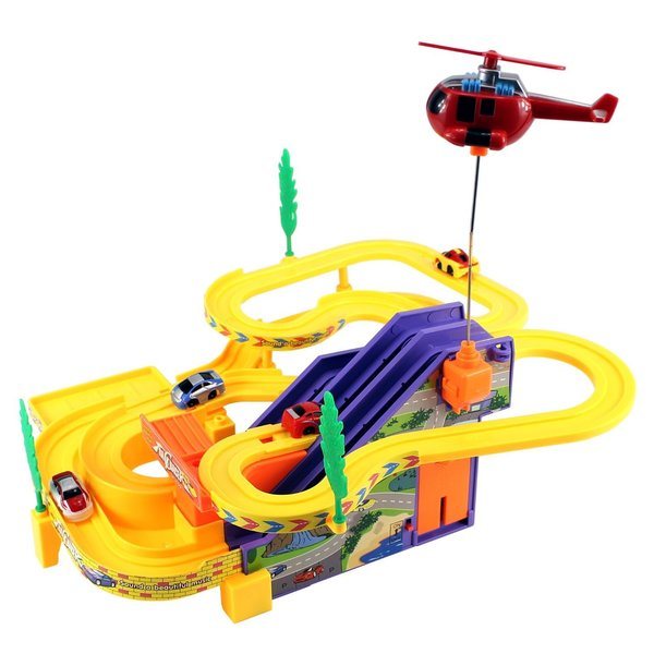 Velocity Toys Track Racer Car and Helicopter Kid's Battery Operated Toy Vehicle Playset
