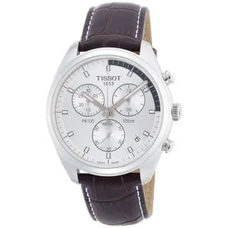 Tissot Men's T1014171603100 'PR 100' Chronograph Brown Leather Watch|https://ak1.ostkcdn.com/images/products/11333356/P18308661.jpg?impolicy=medium