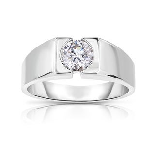 Eloquence 14k White Gold 9/10ct TDW Diamond Mens Wedding Ring (K-L, I1-I2)