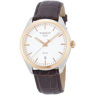 Tissot Men's T1014102603100 'PR 100' Brown Leather Watch