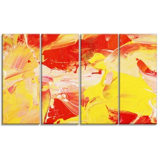 Designart - Yellow and Red Abstract Art -4 Panels Abstract Canvas Print