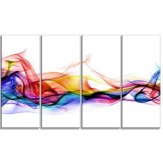 Designart - Abstract Smoke -4 Panels Contemporary Artwork