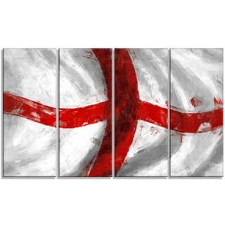 Designart - Flag of England -4 Panels Contemporary Canvas Art Print