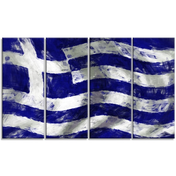 Designart - Flag of Greece -4 Panels Contemporary Canvas Art Print