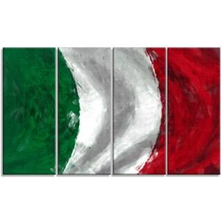 Designart - Italy Flag -4 Panels Contemporary Canvas Art Print