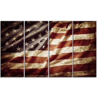 Designart - American Flag -4 Panels Contemporary Canvas Art Print
