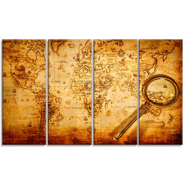 Designart - Magnifying Glass on World Map -4 Panels Digital Canvas Art Print