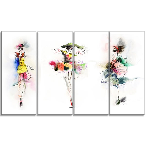 Designart - Fashion Girls Posing -4 Panels Contemporary Canvas Art Print
