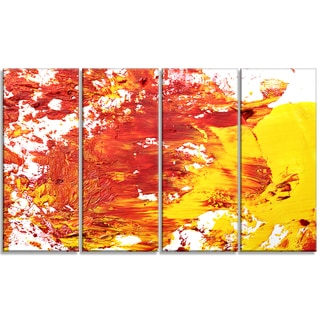 Designart - Textured Red and Yellow Art -4 Panels Abstract Canvas Print