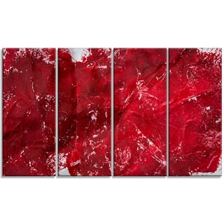 Designart - Abstract Red Texture -4 Panels Abstract Canvas Art Print
