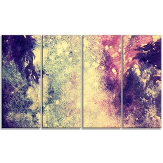 Designart - Deep Blue and Purple -4 Panels Abstract Canvas Print