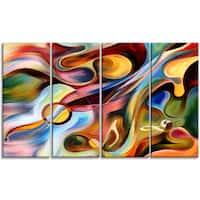 DesignArt - Music beyond the Frames -4 Panels Music Abstract Canvas Print