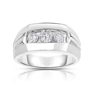 MWI Eloquence 14k White Gold, 1ct TDW Diamond Mens Wedding Ring