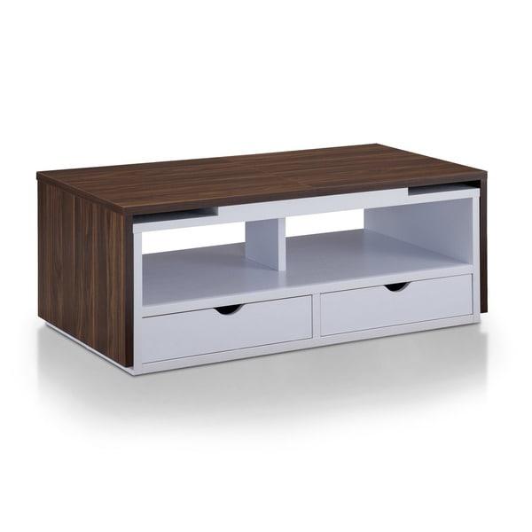 Furniture of america nola dark walnut and white expandable for Furniture of america coffee table
