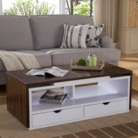 Furniture of America Nola Dark Walnut and White Expandable Coffee Table