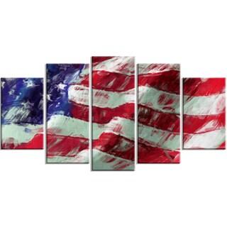 Designart - USA Flag Abstract Art -5 Panels Map & Flag Canvas Art Print
