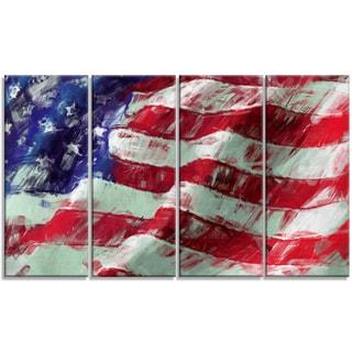 Designart - USA Flag Abstract Art -4 Panels Map & Flag Canvas Art Print