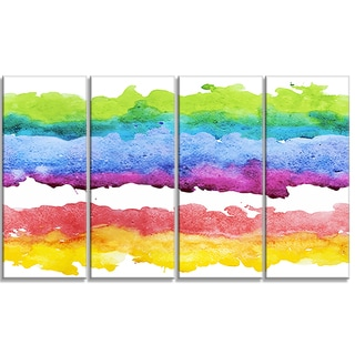 Designart - Colorful Stripes in Vector Pattern -4 Panels Abstract Canvas Print