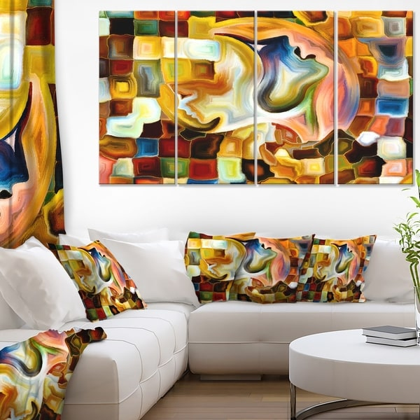Designart - Way of Inner Paint -4 Panels Abstract Canvas Art Print