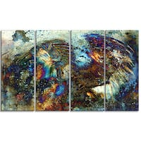 Designart - Indian Woman Collage with Lion -4 Panels Woman Canvas Print