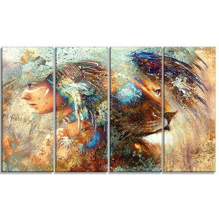 Designart - Indian Woman Collage with Lion -4 Panels Indian Canvas Artwork